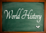 image of classroom blackboard with world history written on it